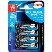 Cora 4 piles alcalines AA (LR6) suractivées