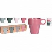 Lot de 4 mugs pastel 18 cl