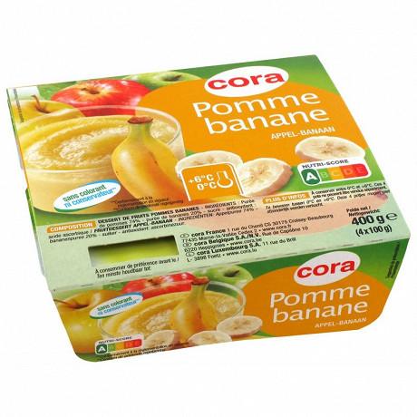 Cora dessert de fruits pommes et bananes 4x100g