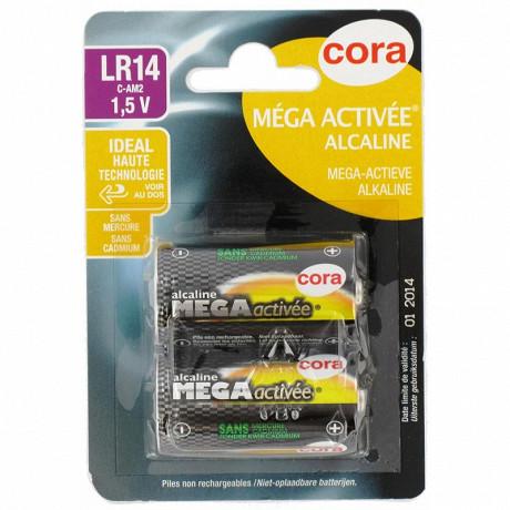 Cora 2 piles alcalines C (LR14) mega-activées