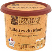 Patrimoine Gourmand rillettes du Mans porc fermier label rouge 220g