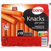 Cora knacks pur porc x10 350g