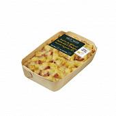 Gratin de pâtes et bacon aux trois fromages : emmental, mozzarella, comté 300g