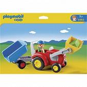 6964 Fermier avec tracteur et remorque
