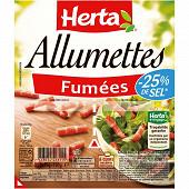 Herta allumettes fumées -25%sel 2x75g