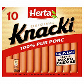 Herta knacki original pur porc x 10 soit 350 g