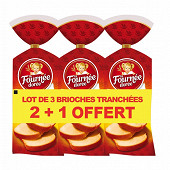La Fournee Dorée brioches tranchées lot 3X500g 2+1 offerte