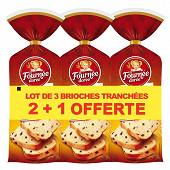 La Fournée Dorée brioche tranchée pépites de chocolat lot 3x500g 2+1 offerte