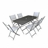 Ensemble pliant 7 pièces 1 table 160X90 cm + 6 chaises gris