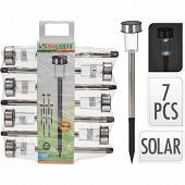 Set de 7 bornes solaires diam 4,6 x h36cm