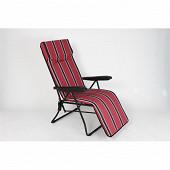 Fauteuil relax accoudoirs 6 positions dim 148x60x60 cm argos rouge