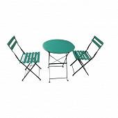 Ensemble table ronde en acier + 2 chaises coloris vert