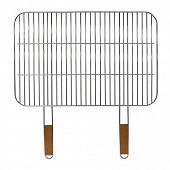 Verciel grille simple rectangulaire 66x43 cm acier chromé 2 poignées manche bois réf 477147 PR FSC