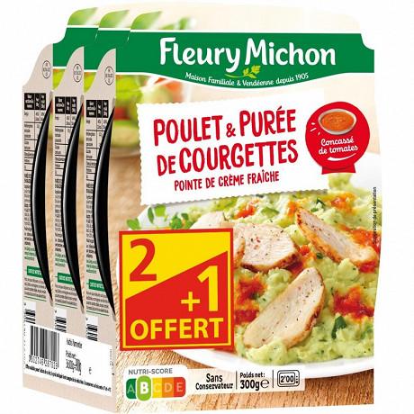 Fleury Michon poulet tomates et purée de courgettes 3x300g Lot 2+1 Offert