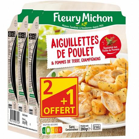 Fleury Michon Aiguillettes de poulet pommes de terre et champignons 3x280g 2+1 offert