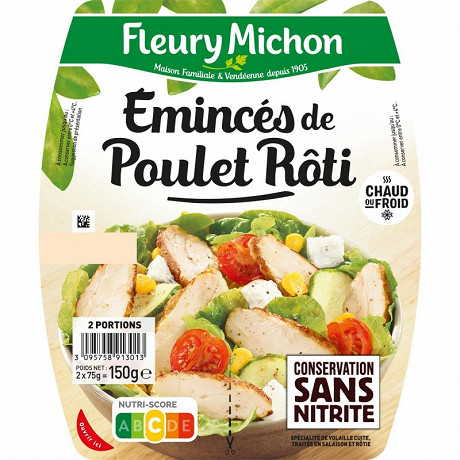 Fleury michon émincés de poulet rôti 2x75g