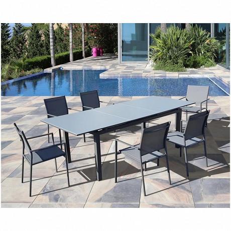 Terria table mangue 180/240x100 verre texturé