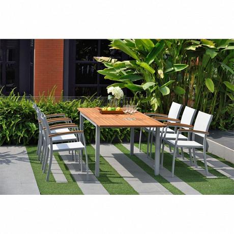 Table rectangle extensible 150-200x100x74 cm alu gris eucalyptus fsc