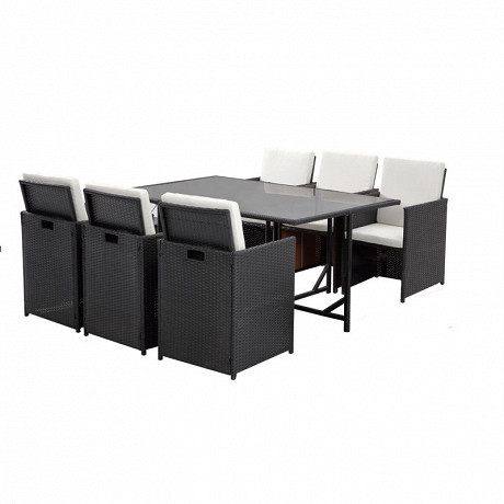 Table + 6 fauteuils acier et wicker