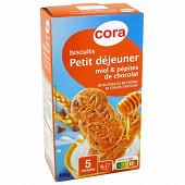 Cora biscuits petit déjeuner miel pépites de chocolat 400g