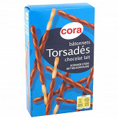 Cora bâtonnets torsadés chocolat lait 90g
