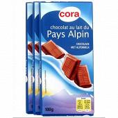 Cora chocolat au lait du pays alpin 3x100g