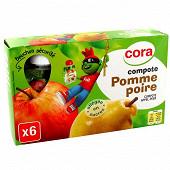 Cora kido gourdes compote de pomme poire allégée en sucres 6 x 90g