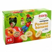 Cora kido gourdes compote de pomme banane allégée en sucres 6 x 90g