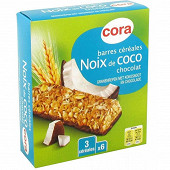 Cora barres céréales noix de coco chocolat 6 x 21g soit 126g