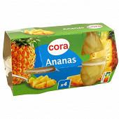 Cora coupelles d'ananas 4x65g net egoutté