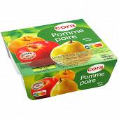 Cora compotes de pomme poire allégées 4x100g
