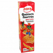 Cora kido goûters carrés fourrés à la fraise 300g
