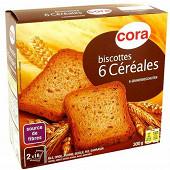 Cora biscottes 6 céréales 36 tranches 300g
