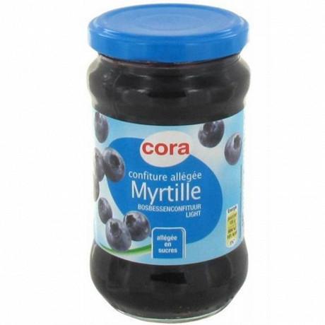 Cora confiture de myrtille allégée en sucres 335g