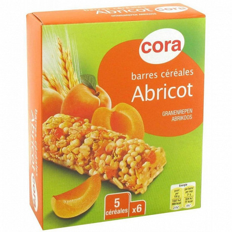 Cora barres céréales abricot 6x21g soit 126g
