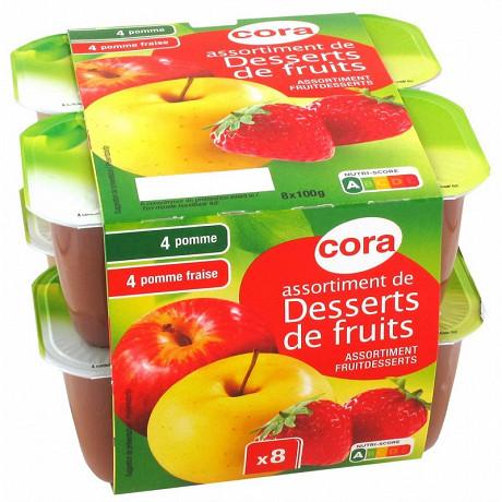 Cora dessert Pomme / Pomme Fraise 8x100g