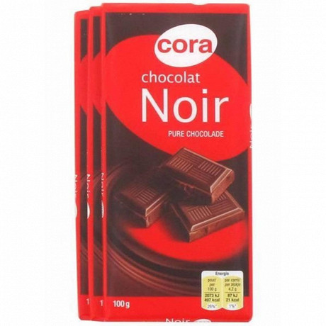 Cora chocolat noir 3x100g