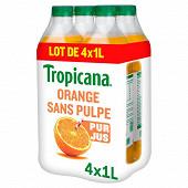 Tropicana pure premium orange sans pulpe pet 4x1l