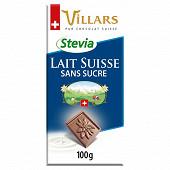 Villars tablette lait Suisse à base d'extrait de stevia 100g