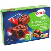 Cora mini brownies chocolat noisettes x8 240g