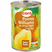 Cora poire williams au sirop léger 1/2 100% 412g