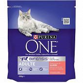 PURINA ONE Croquettes pour chat adulte au Saumon et Céréales Complètes - 450 g