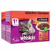 Whiskas sachets fraîcheur pour chat en sauce la sélection de viandes 24x100g