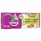 Whiskas boîtes pour chat en terrine la carte du marché 4x400g