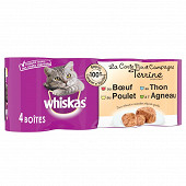 Whiskas boîtes pour chat en terrine la carte mer et campagne 4x400g