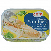 Cora filets de sardines citron basilic 100g