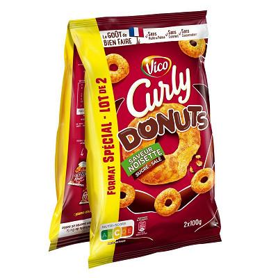 Curly Curly donuts noisette lot de 2 soit 200g