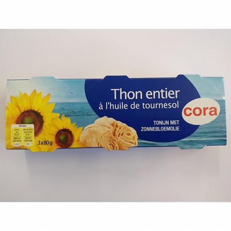 Cora thon à l'huile de tournesol 3 x 80 g