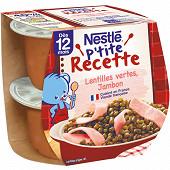 Nestlé p'tite recette lentilles vertes jambon dès 12 mois 2x200g
