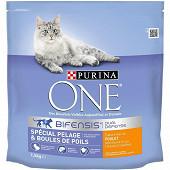 PURINA ONE Pelage & Boules de Poils Croquettes pour chat adulte Poulet et Céréales Complètes 1,5kg